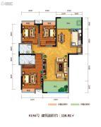 百江御城・龙脉3室2厅2卫126平方米户型图