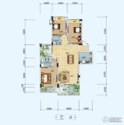 中铁・世纪山水3室2厅2卫144平方米户型图