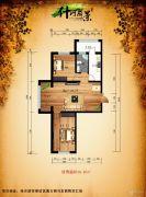 什河丽景2室1厅1卫56平方米户型图