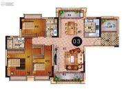 乐天峰公馆3室2厅2卫124平方米户型图
