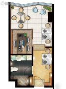 绿地中央广场1室1厅1卫49平方米户型图