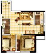 城关江南明珠2室1厅1卫73平方米户型图