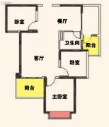 汉中恒大城3室2厅1卫100--105平方米户型图