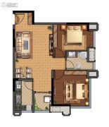 西元国际2室2厅1卫74平方米户型图