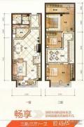 UP生活3室3厅1卫82平方米户型图