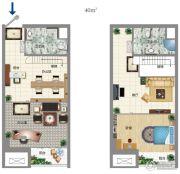 大宏城市广场3室1厅2卫40平方米户型图
