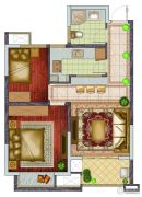 银亿东城2室2厅1卫77平方米户型图