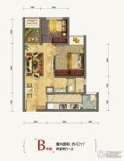 万科金域学府2室2厅1卫42平方米户型图