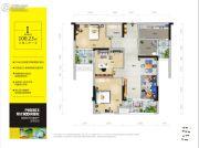阳光100凤凰街3室2厅1卫100平方米户型图