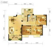 春天印象二期3室2厅1卫88平方米户型图