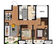 万科MixTown2室2厅1卫83平方米户型图