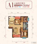 金开御景3室2厅2卫116平方米户型图
