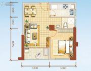 海岸国际假日花园1室2厅1卫49平方米户型图