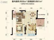保利花半里2室2厅2卫0平方米户型图