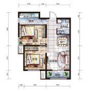 中国铁建国际城2室2厅1卫86平方米户型图