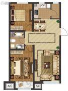 中国城建伦敦公元2室2厅1卫93平方米户型图