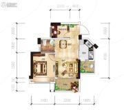 越亚天赐良园2室2厅1卫51平方米户型图