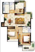 明发摩尔城2室2厅2卫124平方米户型图