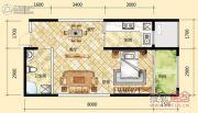 元森北新时代1室2厅1卫48平方米户型图