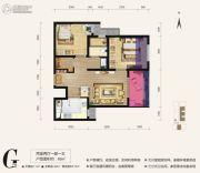 天朗大兴郡2室2厅1卫65平方米户型图