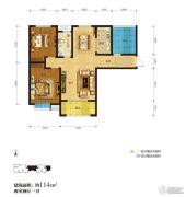 君河湾2室2厅1卫114平方米户型图