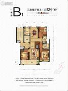 朗诗熙华府3室2厅2卫126平方米户型图