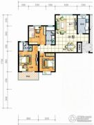 红安帝都3室2厅2卫121平方米户型图