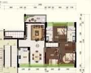 君华・禧悦台3室2厅2卫129平方米户型图