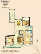 佳源广场3室2厅2卫135平方米户型图