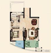 翡丽蓝湾1室2厅1卫62平方米户型图