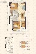泽科弹子石中心2室2厅1卫51平方米户型图