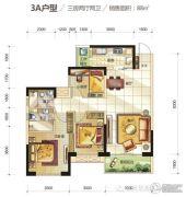华润凯旋门3室2厅2卫88平方米户型图
