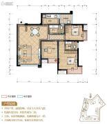 置地城3室2厅2卫88平方米户型图