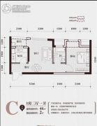 华商国际・美国城1室2厅1卫46平方米户型图