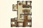 中海寰宇天下4室2厅3卫159平方米户型图