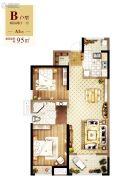 常德万达广场3室2厅1卫95平方米户型图