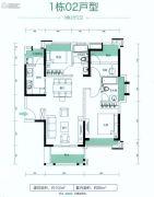 朗宁郡3室2厅2卫100平方米户型图