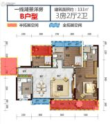 碧桂园湖光山色3室2厅2卫111平方米户型图