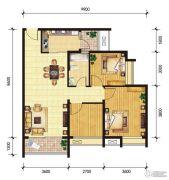 东山雅居2室2厅1卫99--100平方米户型图