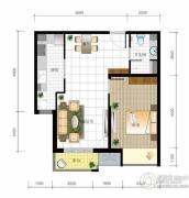 北京城建・世华泊郡1室2厅1卫66平方米户型图
