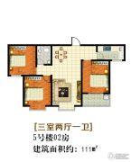 嘉大如意3室2厅1卫111平方米户型图