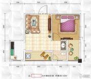 九立方国际购物中心1室1厅1卫46平方米户型图