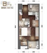 南湖时尚城1室1厅1卫43--49平方米户型图