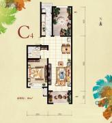 红木林1室2厅1卫80平方米户型图