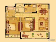 中南世纪花城2室2厅1卫92平方米户型图