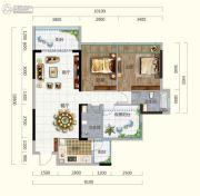 香槟小镇2室2厅2卫97平方米户型图