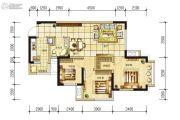 长虹和悦府3室2厅1卫74平方米户型图