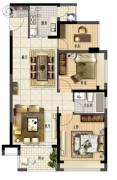 鑫月城2室2厅1卫91平方米户型图