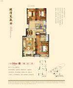 金地江山风华3室2厅2卫98平方米户型图
