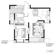 合生国际城2室2厅1卫88平方米户型图